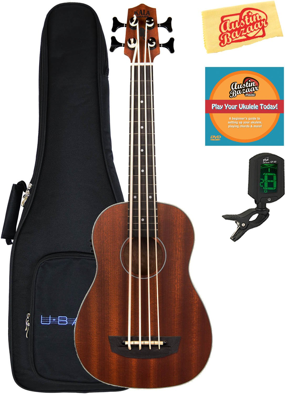 Kala U-Bass-PSGR-FS Passenger Acoustic-Electric U-Bass Ukulele Bundle with Gig Bag, Tuner, Austin Bazaar Instructional DVD, and Polishing Cloth by Kala (Image #1)