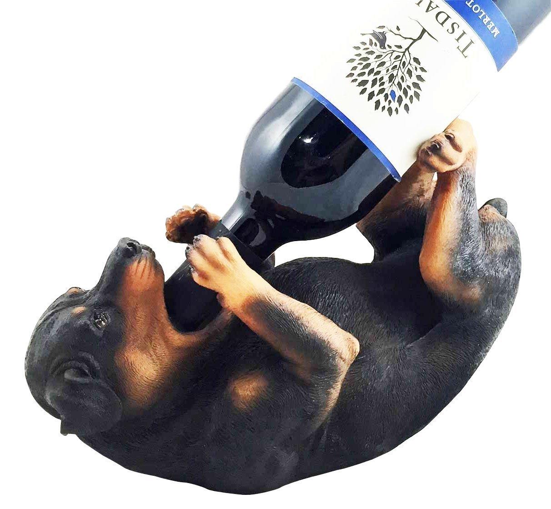 Pure Breed Rottweiler Butcher's Dog Wine Oil Bottle Holder Canine Pet Figurine Kitchen Hosting Accessory Ebros Gift