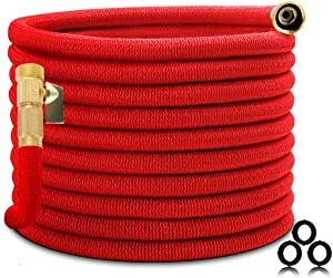 """Homes Garden Expandable Garden Hose 50 FT, Flexible & Durable, Lightweight, No Leaking, No Kink, 3/4"""" Solid Brass Fittings, ON/OFF Valve (Spray Nozzle Not Included) #G-W024A00-US"""