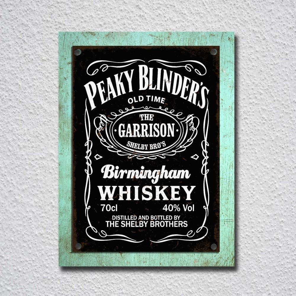 Peaky Blinders Birmingham Whisky Esta/ño Carteles de /época Cartel de Metal Pared de esta/ño Placa Hierro Colgante Pintura Decorado Jard/ín Caf/é Bar Pub Regalo