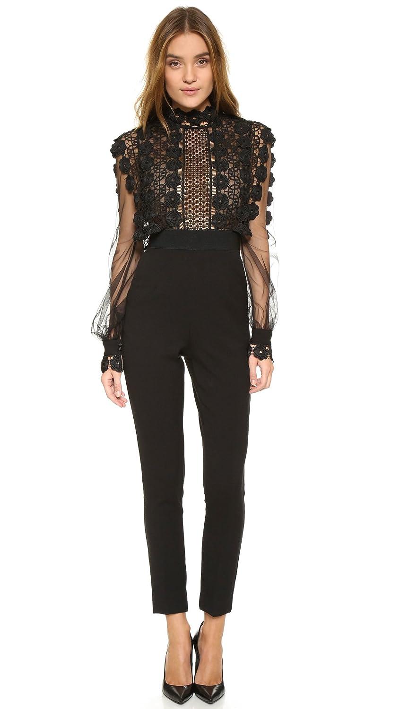 0bec691ab0a2 Self-Portrait Lace Balloon Sleeve Jumpsuit Black Womens Size UK 8:  Amazon.co.uk: Clothing