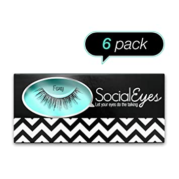 SocialEyes Foxy 6 Pack Bundle Cruelty Free Fake Eyelashes False Black
