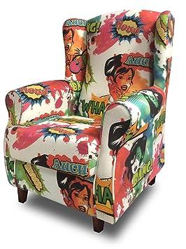 SUENOSZZZ - Sillon Relax, Sillon orejero para Lactancia Irene. Tejido Estampado HP Comic. Butaca para Dormitorio, Salon o habitacion de Bebe | Sillon ...