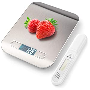 Upgrade Digital Kitchen Scales, Belita Amy Rechargeable Food Kitchen Scales, 22lb Multifunction Digital Food Scales Weight Grams and oz for Cooking Baking, with Digital Instant Read Meat Thermometer