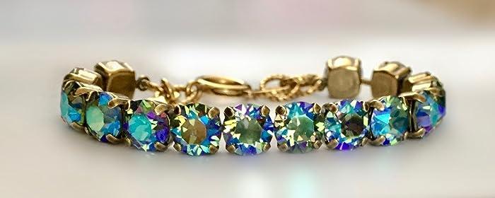 Amazon.com  Emerald Green Crystal Swarovski AB 8mm Link Bracelet in ... daa1afeeec