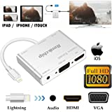 Lightning to HDMI VGA Audio Adapter Converter cable,3 in 1 Plug and Play Lightning Digital AV Adapter to 1080P HDTV Projector Monitor Compatible with iPhone/iPad (lightning to vga hdmi adapter)