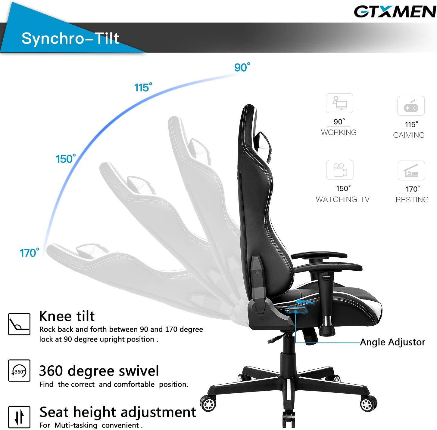 Blue Gaming Racing Office High Back PU Leather Computer Desk Executive and Ergonomic Swivel Chair with Headrest and Lumbar