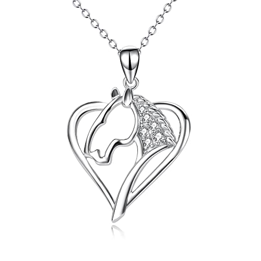 Amazon angel caller sterling silver horse charm heart pendant angel caller sterling silver horse charm heart pendant necklace 18quot mozeypictures Choice Image