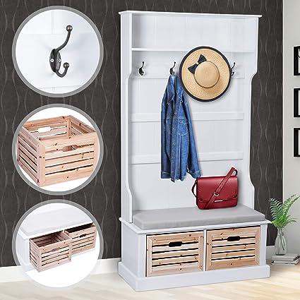 Miadomodo - Perchero de madera / Perchero de pared - con 2 cajones y un cojín - estilo rústico -