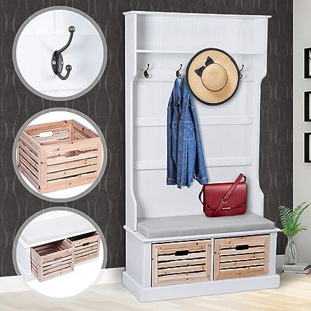 Perchero de madera Blanco | 92x180x40cm, con 2 cajones y un cojín - estilo rústico | Perchero de pared, Perchero de Entrada, Panel de ropa