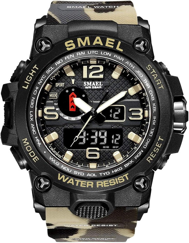 Smael Reloj Militar para Hombre Reloj De Pulsera Impermeable De 50 M Reloj De Cuarzo LED Reloj Deportivo Reloj Deportivo para Hombre (Camo Kahqi)