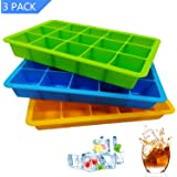Ice Cube Trays 3 Pack, Flexible 15-Cavity Silicone Ice Cube Molds - BPA Free, Ice Tray Stackable Easy ReleaseIce, Ice Cube for Cocktail, Whiskey, Baby Food, Chocolate (3 Colors - Orange/Blue/Green)