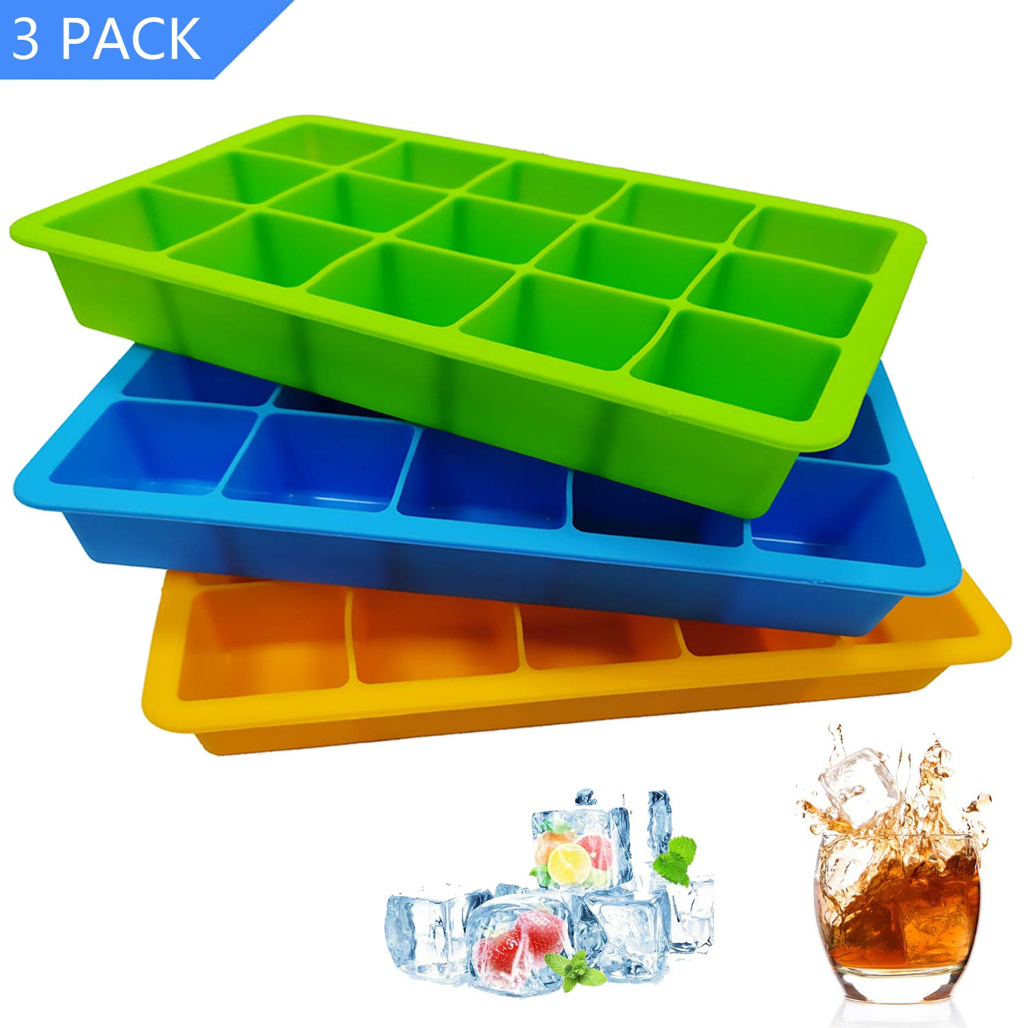 Silicone Ice Cube Trays, 3 Pack Flexible 15-Cavity Silicone Ice Cube Molds - FDA Certification, BPA Free, Stackable, Easy Release (3 colors - Orange/Blue/Green)