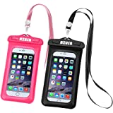 "Universal Waterproof Case 2 Pack, Floating Waterproof Phone Pouch IPX8 CellPhone Dry Bag for iPhone X/8/8plus/7/7plus/6s/6/6s plus Samsung Galaxy S8/S8 Plus/S7/S6edge Note 5 4 up to 6.0""(Pink&Black)"