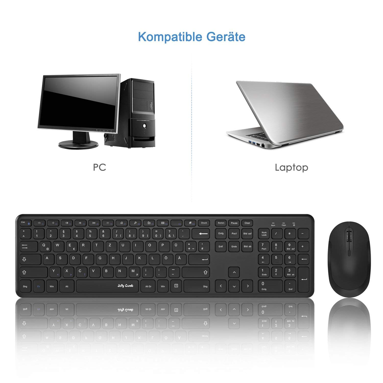 2.4G Fullsize Tastatur mit Funkmaus Kombi fr PC/Laptop/Smart TV ...