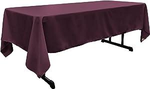 """LA Linen Polyester Poplin Rectangular Tablecloth, 60"""" x 126"""", Eggplant"""