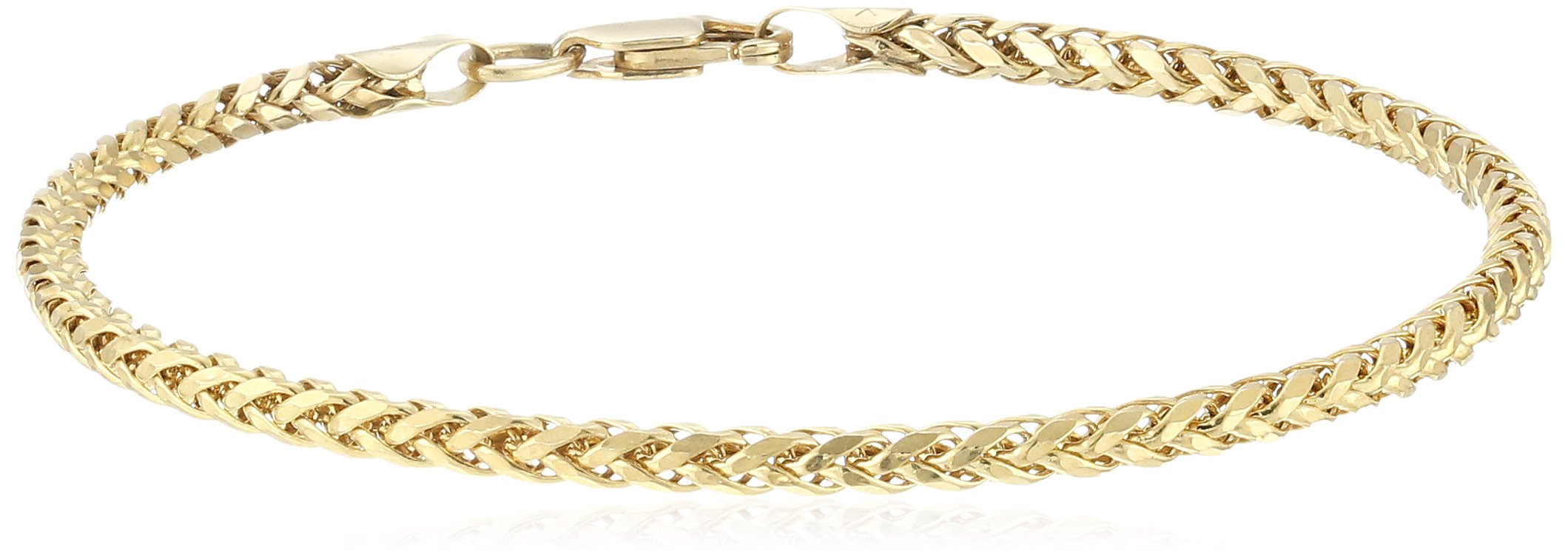14k Yellow Gold 2.5mm Hollow Wheat Chain Bracelet, 7.5''