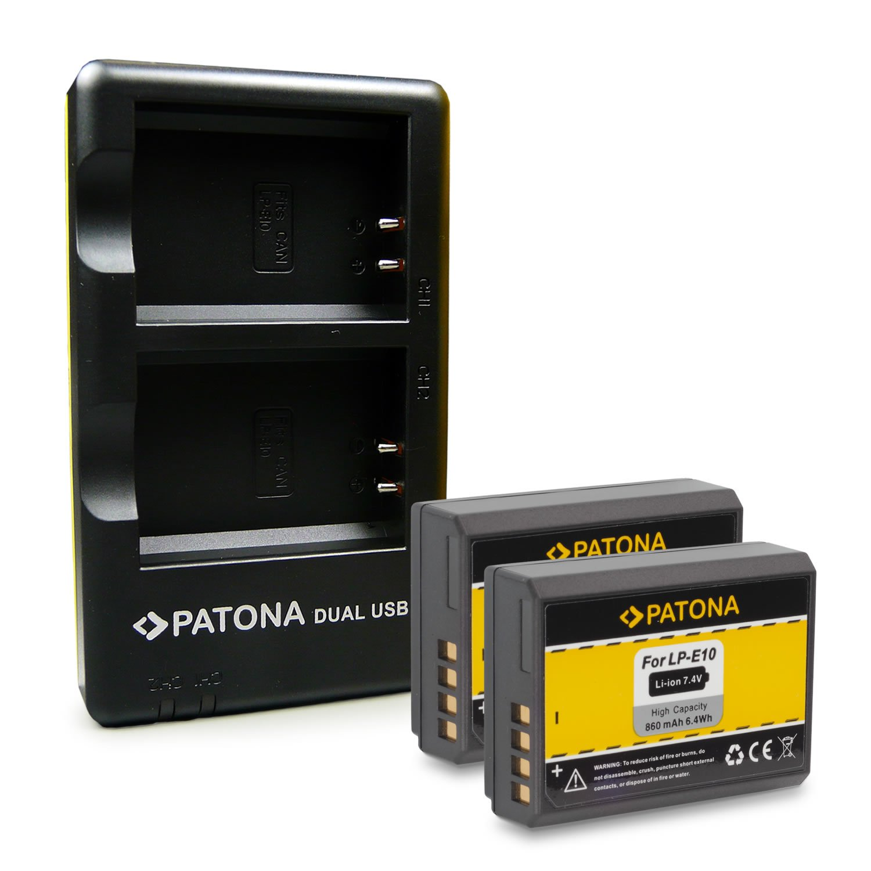 PATONA 2in1 Dual Cargador + 2x Batería LP-E10 para Canon EOS 1100D EOS 1200D EOS 1300D EOS Rebel T3 EOS Rebel T5 EOS Rebel T6 EOS Kiss X50 EOS Kiss ...