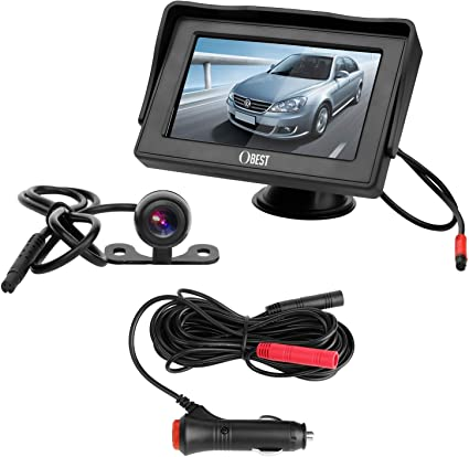 B-Qtech Backup Camera and Monitor Kit License Plate Rear View Reverse Camera Waterproof Night Vision with Guide Lines and 4.3 LCD Display for Car SUV Van