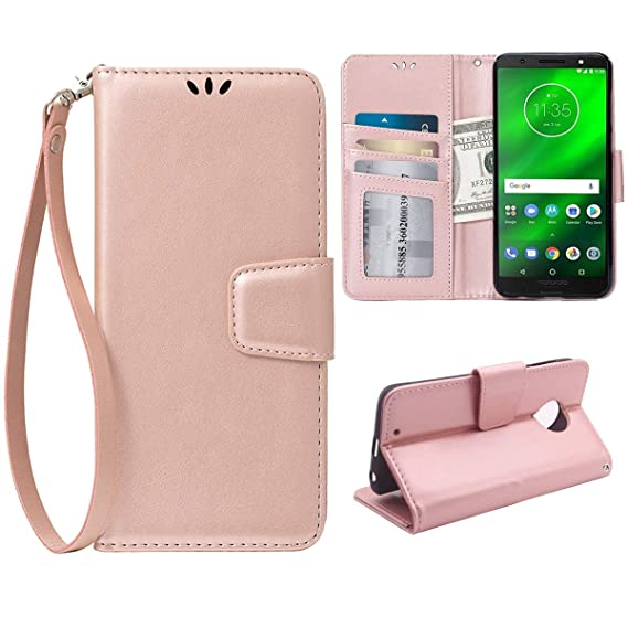 timeless design 9fbfb 24ffc Teebo Flip Case for Motorola Moto G6, Scratch-Proof Leather Wallet Stand  Cover with Card Holder Phone Case Protector for Motorola Moto G6, Rose Gold