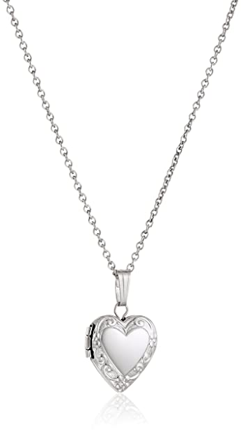 Amazon sterling silver childrens petite embossed heart locket sterling silver childrens petite embossed heart locket pendant necklace mozeypictures Gallery