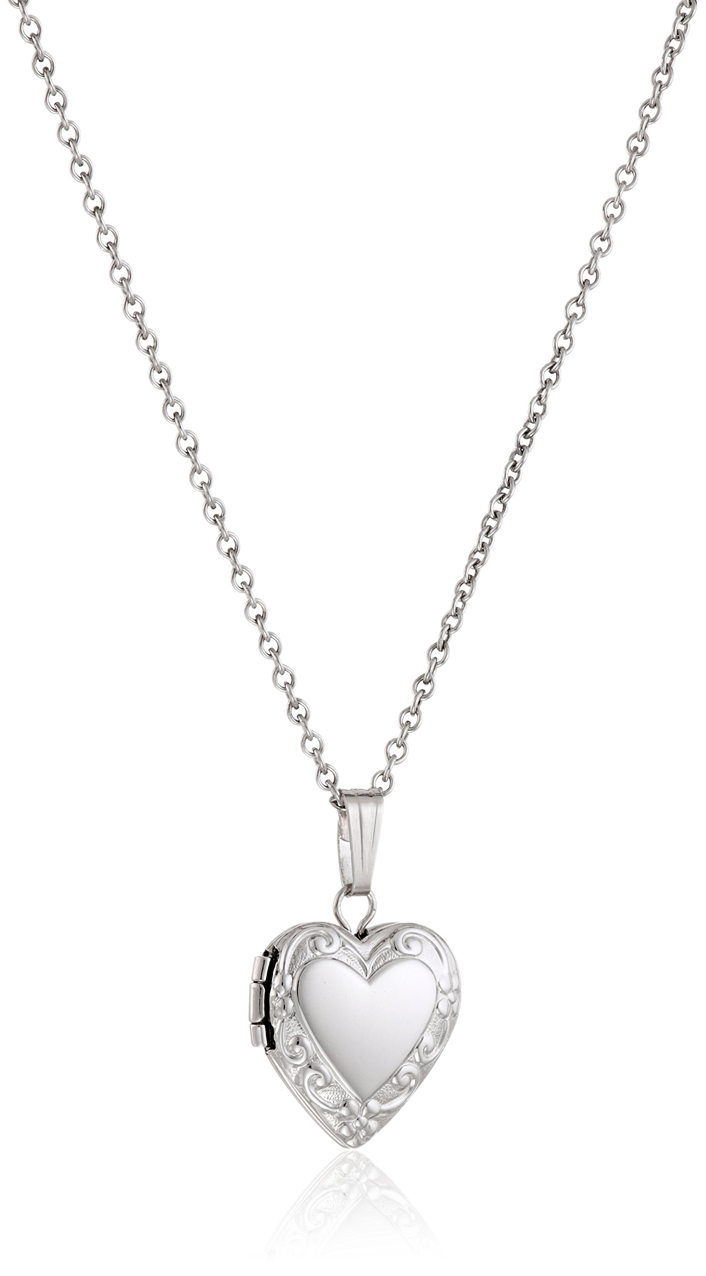 Sterling Silver Children's Petite Embossed Heart Locket Pendant Necklace, 15''