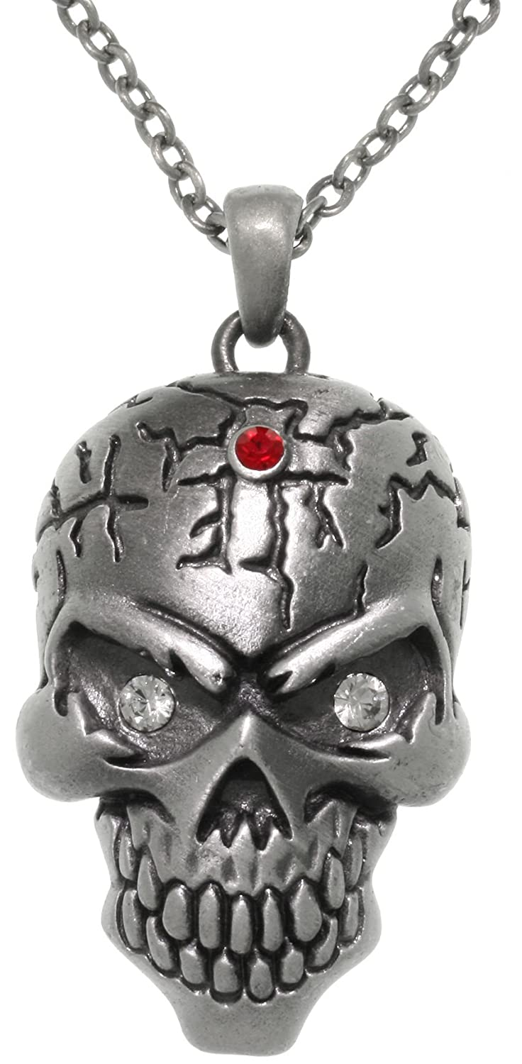 Jewelry Trends Large Skull Head Pewter Pendant Necklace 23 with Crystal Eyes