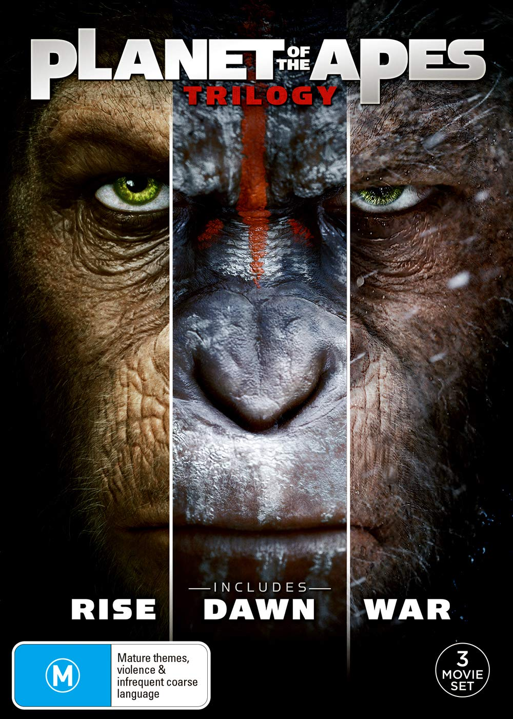 Amazon Com Planet Of The Apes Trilogy Rise Dawn War Non Usa Format Region 4 Import Australia James Franco Gary Oldman Woody Harrelson Andy Serkis Matt Reeves Rupert Wyatt