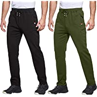 Men's 2 Pack Cotton Sweatpants Open Bottom Joggers Straight Leg Casual Loose Fit Running Pants with Zipper Pockets