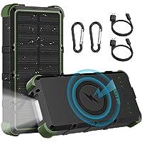 OUTXE 25000mAh Wireless Solar Power Bank IP67 Waterproof Solar Phone Charger with Flashlight Dual Input Type C & Micro…