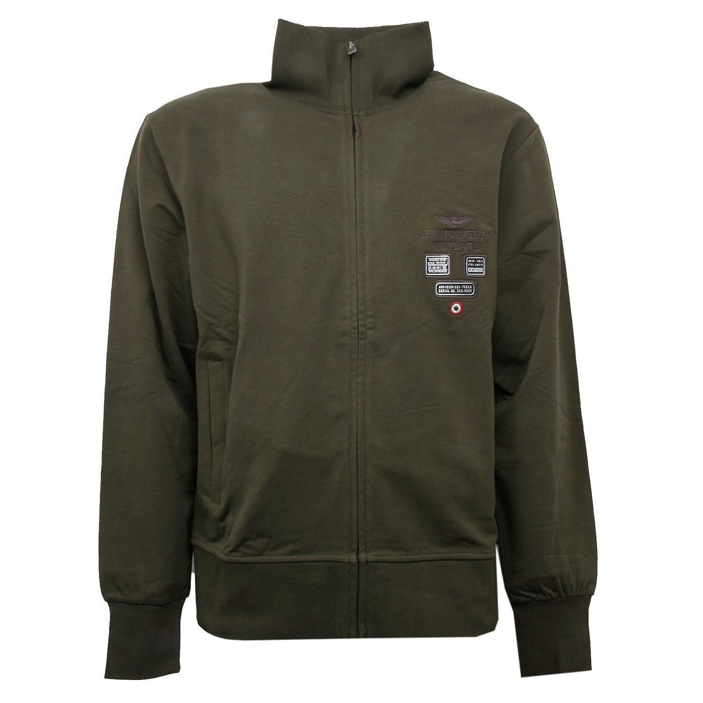 Aeronautica Militare C0972 Felpa  Herren Verde Militare Con Zip Sweatshirt Men