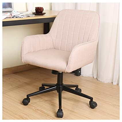 Zenith Stylish Office Chair Linen Fabric Mid Back Executive Home Office  Chair With Adjustable Height,