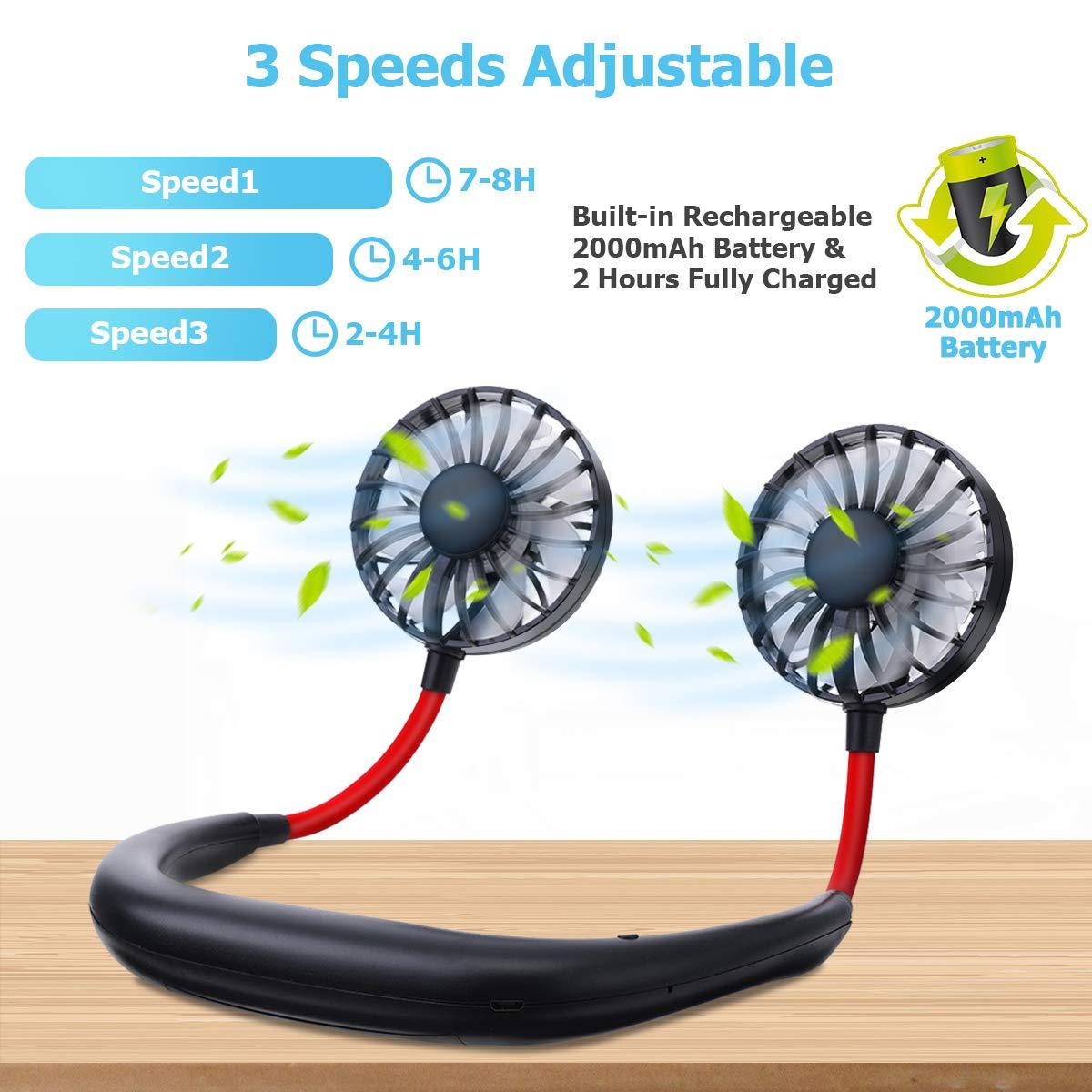 Tvird Ventilador Personal Port/átil,Ventilador de Collar Mini Ventilador de Manos Libres Ventilador de Banda para el Cuello Ventilador USB Recargable Ventilador con Doble Cabeza Giratorio de 360/°