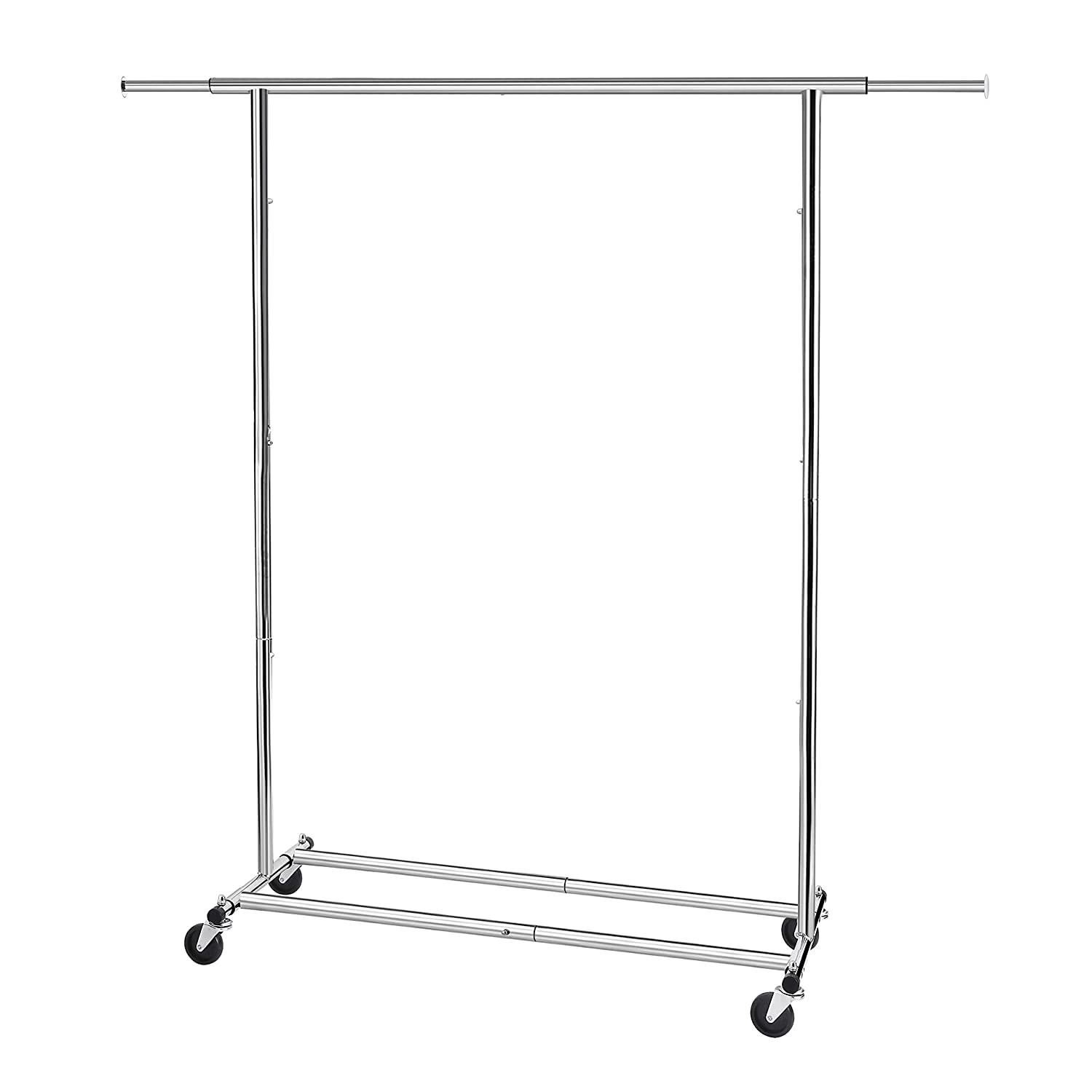 Simple Trending Clothing Garment Rack with Wheels, Extendable & Collapsible, Capacity 150 lbs, Chrome
