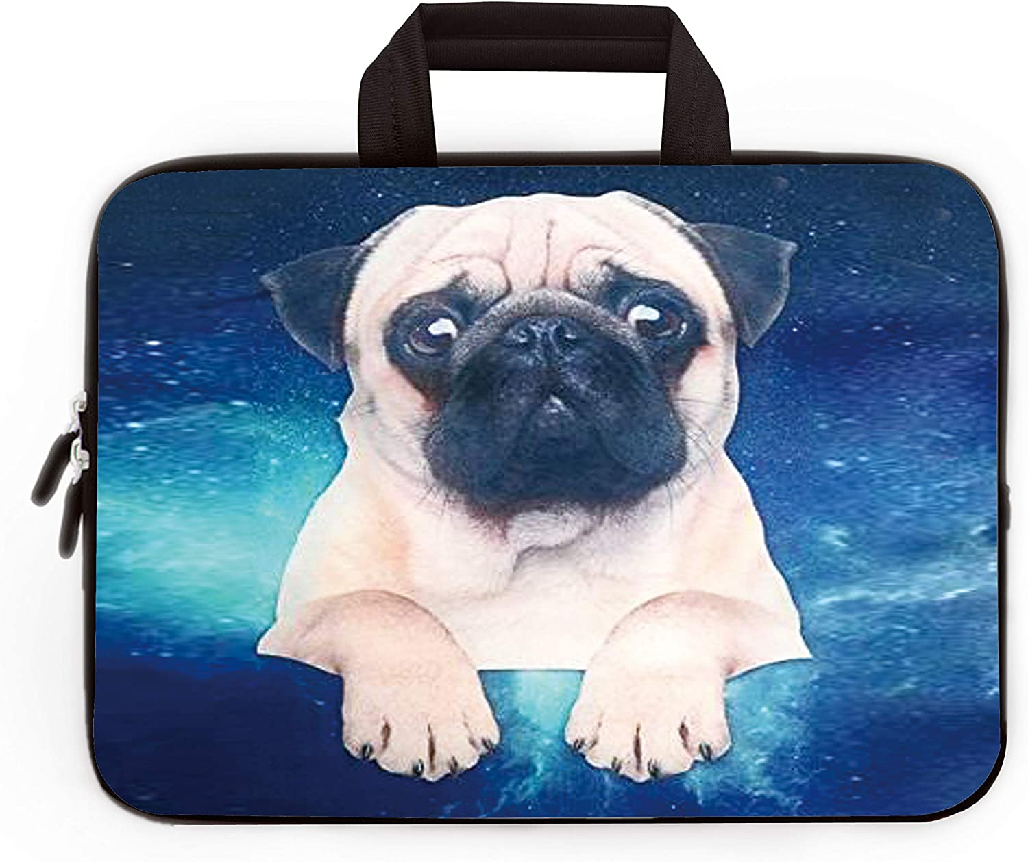 "11"" 11.6"" 12"" 12.1"" 12.5"" inch Laptop Carrying Bag Chromebook Case Notebook Ultrabook Bag Tablet Cover Neoprene Sleeve Fit Apple MacBook Air Samsung Google Acer HP DELL Lenovo Asus (Starry Sky Pug)"