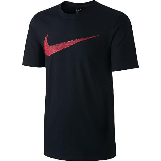 c818ff0e NIKE Sportswear Men's Hangtag Swoosh Tee, Black/Sport Red, X-Small