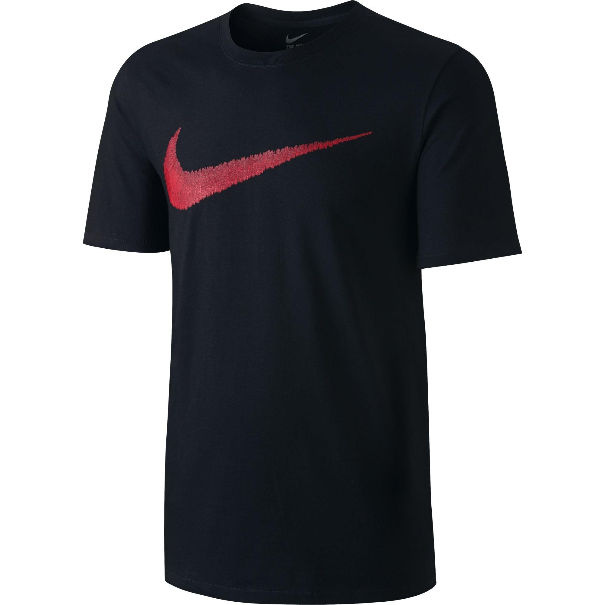 NIKE Sportswear Men's Hangtag Swoosh Tee, Black/Sport Red, X-Small