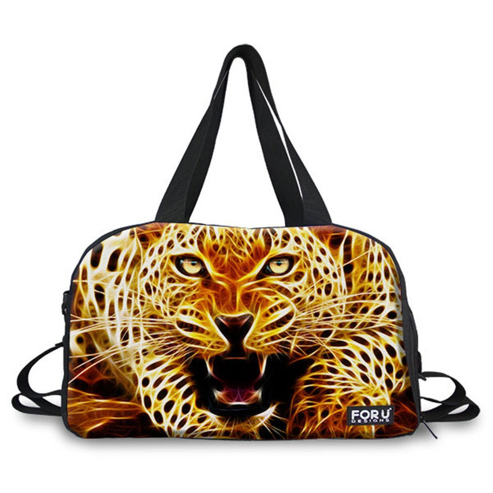 FOR U DESIGNS Leopard Print Durable Canvas Outdoor Duffel Handbag