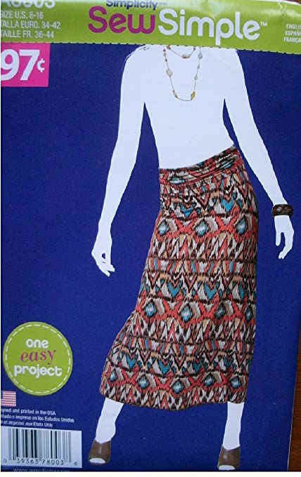 Amazon Simplicity Sew Simple Pattern 8003 Misses Knit Skirt