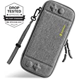 Ultra Slim Carrying Case Fit for Nintendo Switch, tomtoc Original Patent Portable Hard Shell Travel Case Pouch Protective Cover Bag, 10 Game Cartridges, Military Level Protection, Gray