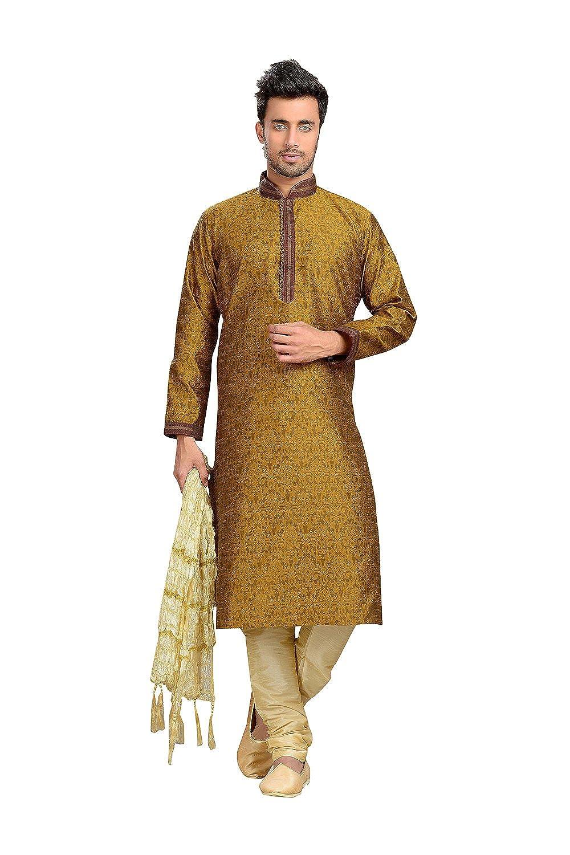 Jaqard Art Silk Fabric Dark Gold Color Readymade Kurta P R-23509