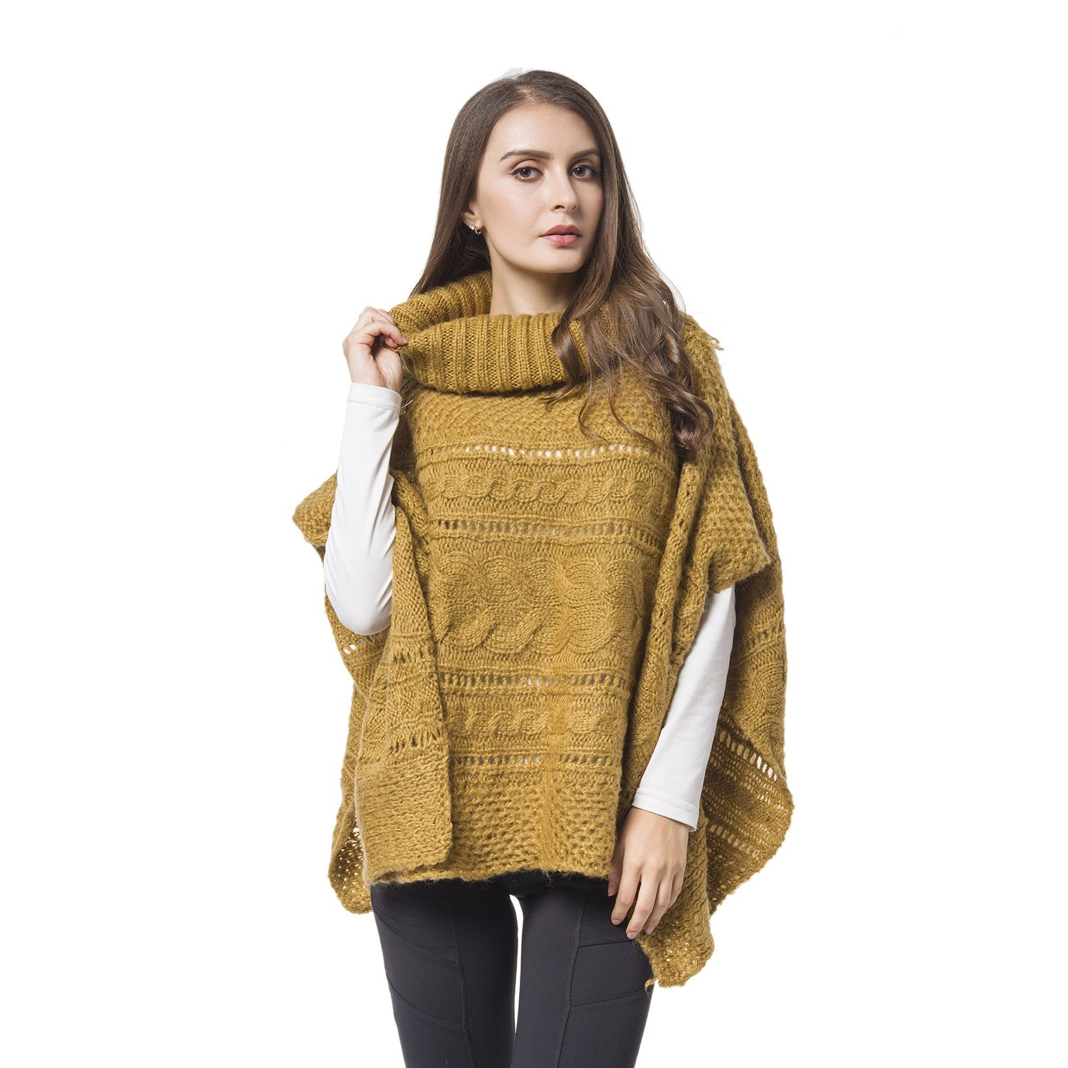 bed122215ac72 Poncho with high-neck collarband, Chain knitted pattern, Acrylic gives  woolen look and warmth, Hand knitted look, Pullover style relaxed design.