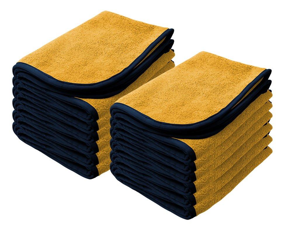 Nanoskin 12 Pack NAM-PS380Y-12 Power Shine Microfiber Towel, Yellow w/Black Silk Edge, 16'' x 24'', (12-Pack), 12 Pack