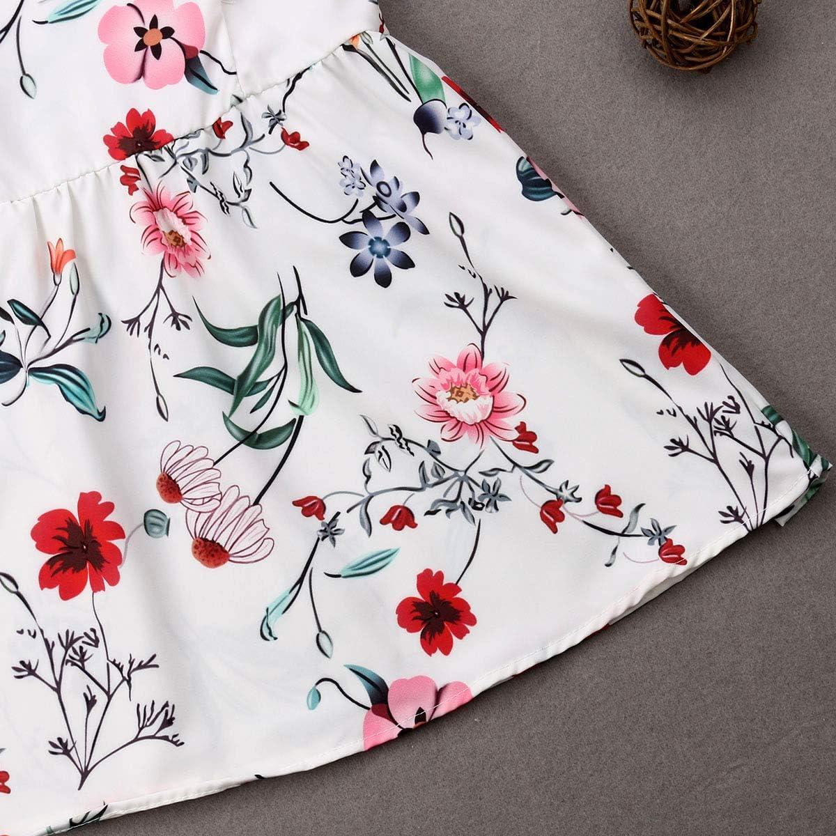 Mutter Tochter passenden Sommerkleider Mama und ich Floral Bedruckte Schultergurt V-Ausschnitt A-Line Midi Sommerkleid Strandkleid