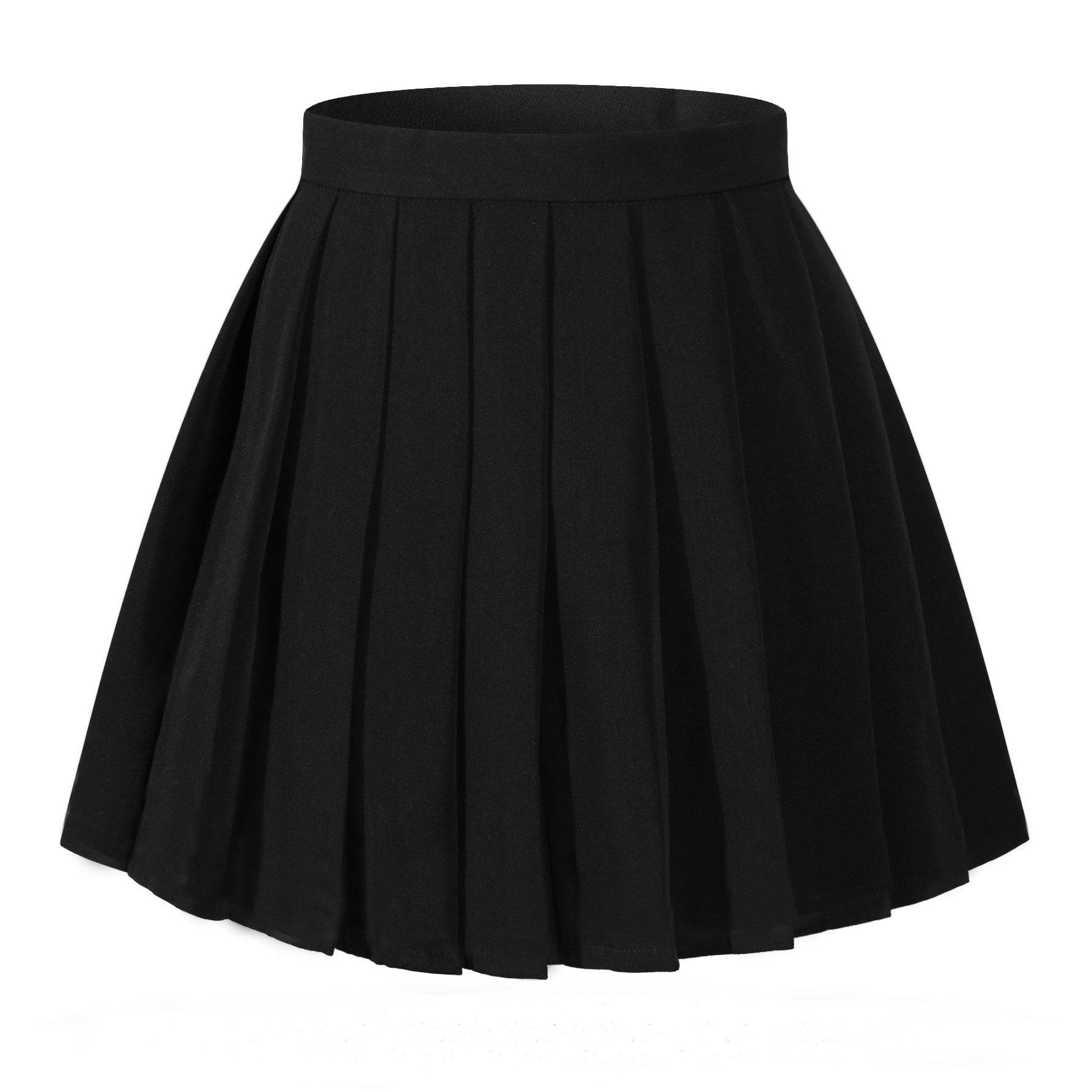 Beautifulfashionlife Women`s Flared Vintage Pleated High Waist Pleated Skirts(XL,Black)