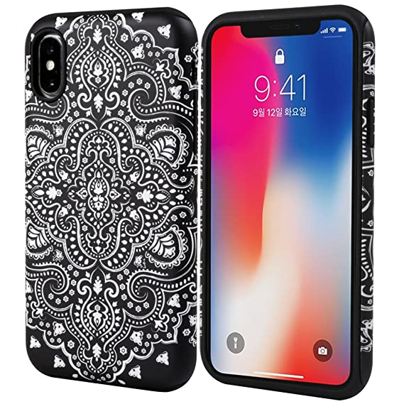 size 40 c6a3d 5062b iPhone Xs Case, Black Mandala Slim Dual Hard Case [Shockproof] [Dual Layer]  [Drop Protection] Fashion Design Pattern for Apple iPhone Xs - Black ...