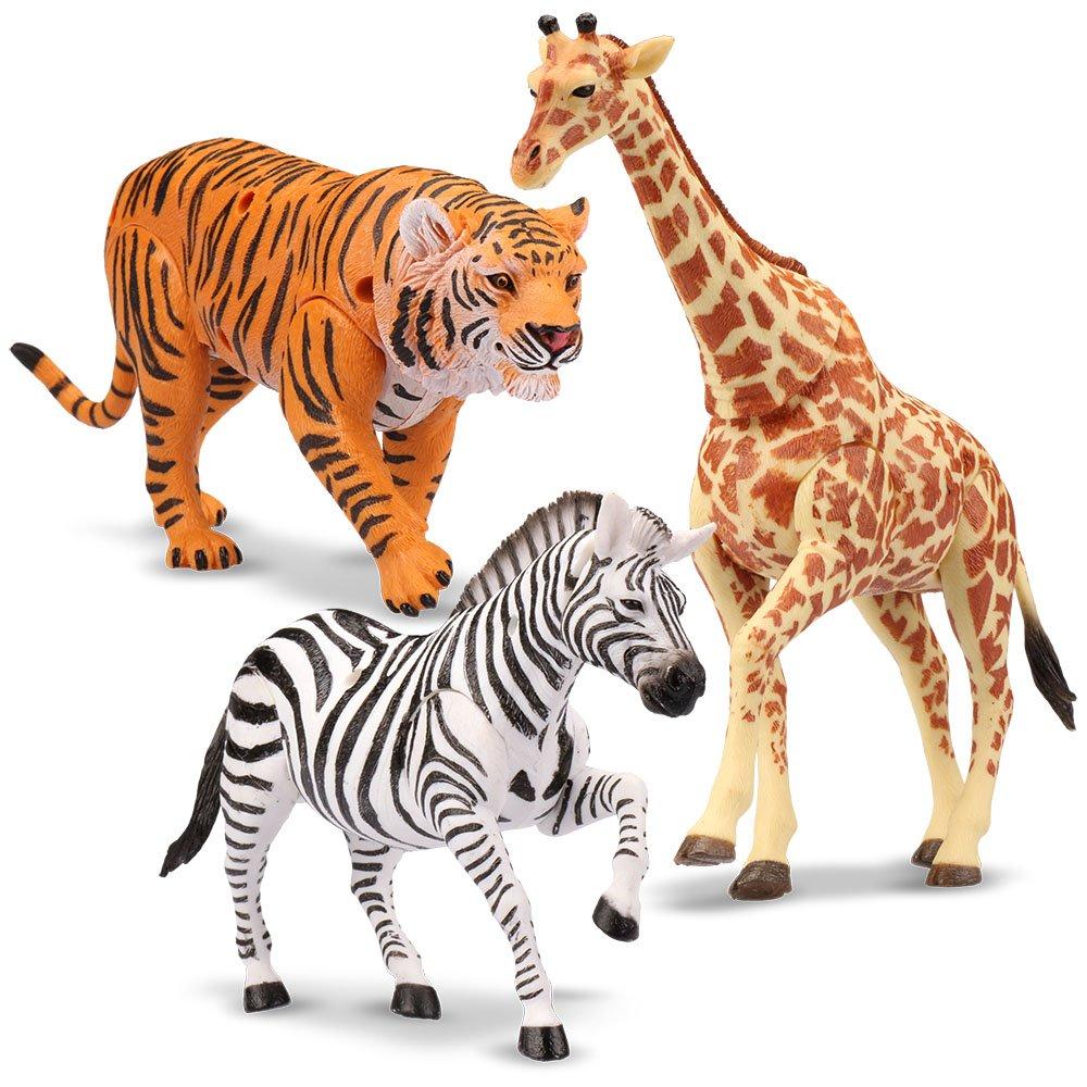 Kid Galaxy 9'' Posable Safari Animal Set – Tiger, Zebra, Giraffe 9'' (3 Piece), Orange, Yellow, Brown, Black, White