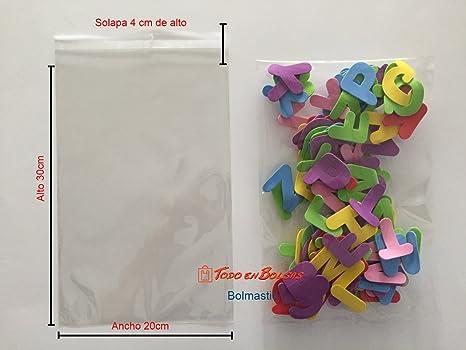 Bolsa de Polipropileno con Solapa Adhesiva de 20 x 30 cm (100 Unidades)