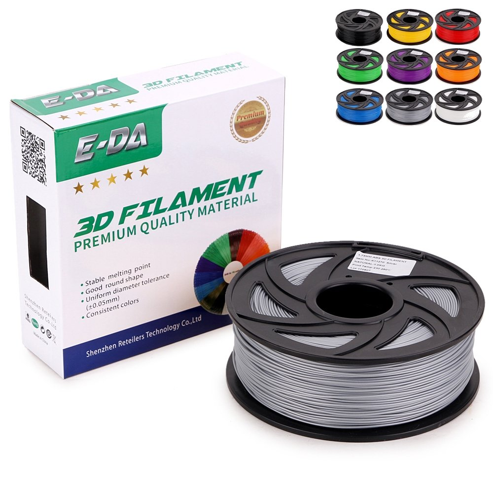 E-DA Black Premium quality PLA 3D printer filament 1.75mm 1KG suitable for Most 3D printers (Black)