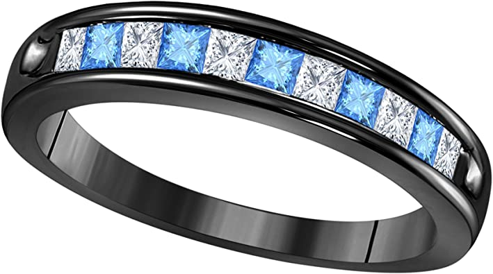 Gems and Jewels Mens Wedding Anniversary Band Ring in 18k Rose Gold Plated 925 Sterling Silver Plated Alloy Lab Blue Topaz